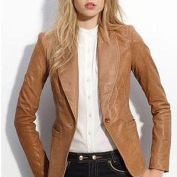 Womens Tapered Tan Leather Blazer - Awesome Lambskin