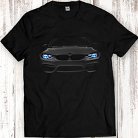 Bmw M4 Headlights Glow T Shirt Tees Women Men Gift Idea Present Awsome Car Lights On Black Garment Apparel T-Shirt