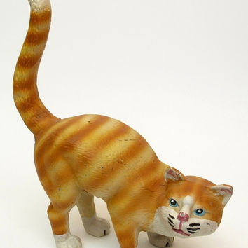 Large Cast Iron Cat Door Stop Yellow Tabby