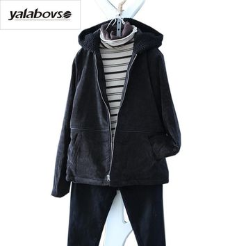 Trendy Yalabovso 2018 Spring Autumn Retro Vintage Jacket Female Sherpa Zipper Corduroy Patchwork Thick Warm Coat for woman A74-12561z15 AT_94_13