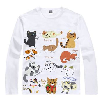 Anime T-shirt graphics Coolprint  Neko Atsume Kitty Collector T-Shirts Multi-style Long Sleeve Cat Collection Cosplay Motivs Kawaii Shirts AT_56_4