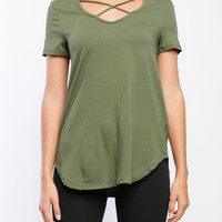 Olive Criss Cross Jersey Top