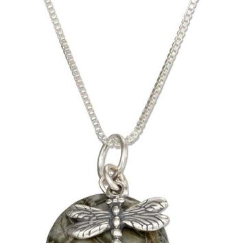 """Sterling Silver 18"""" Dragonfly Pendant Necklace With Natural Green Jasper"""
