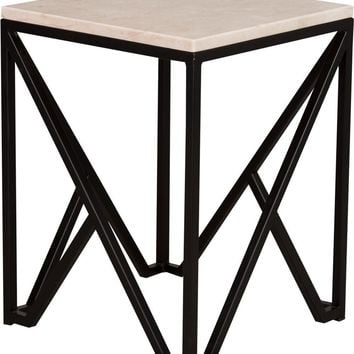 Kory End Table Powdercoated Black With A White Granite Top