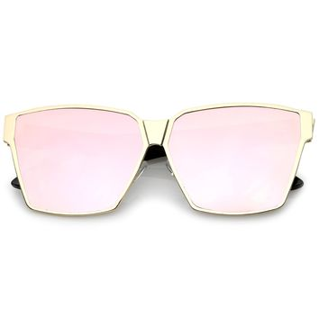 Oversize Metal Accent Horn Rimmed Colored Mirror Flat Lens Square Sunglasses 63mm