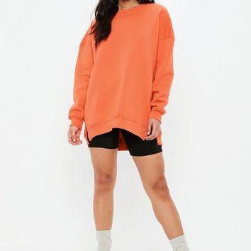 Missguided - Orange Oversized Basic Sweatshirt