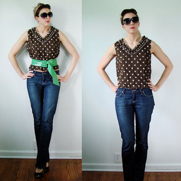 VINTAGE 1950s Brown & White POLKA DOT Tank Top Ruffled Collar