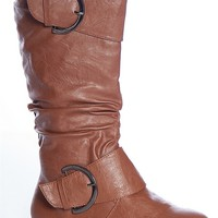 Wells Ruched Road P558 Two Buckle Ruched Mid Calf Slouchy Flat Boots - Tan