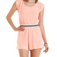 Olive Striped-Waist French Terry Romper by Charlotte Russe