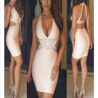 Club Sexy V-neck Backless High Rise Diamonds Women's Fashion One Piece Dress [4919141188]