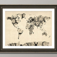 Map of the World Map from Old Clocks Art Print by ArtPause on Etsy