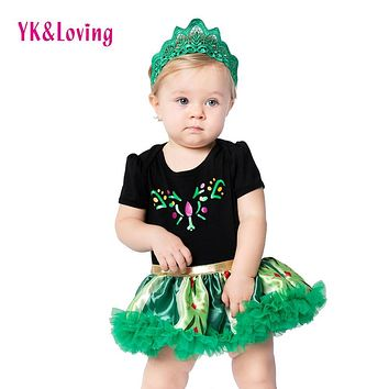 YK&Loving Halloween Costume Anna Elsa Dress Princess Short Sleeve Cotton Satin Green Flower Party Dress Cosplay Baby Clothing