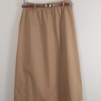 Tan Skirt - Briggs New York - Tan Skirt with Belt - Elastic Waste - Size 12 with Pockets - 1970s - Free US Shipping