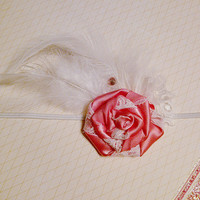 Newborn Headband Pink and White Feather Baby Girls Hair Bow Clip