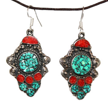 Coral turquoise Earring