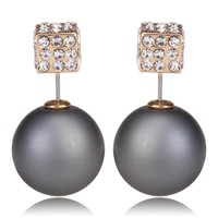 Gum Tee Tribal Earrings - Crystal Dice and Matte Ash Gray