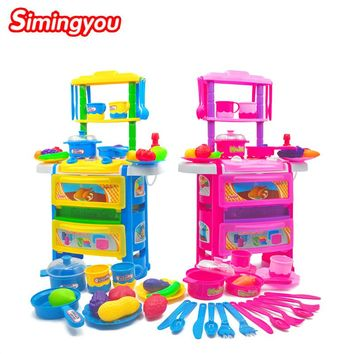 Simingyou Kitchen Toys Set Dinner Table for Children Baby Kids Play Pretend Game Toys for Girls Kitchen Supplie C20 DropShipping