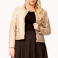Chain Trim Faux Leather Jacket
