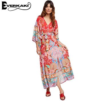 Everkaki Gypsy Collective Lotus Gown Boho Style Long Dress V Neck High Waist Half Sleeve Print Dress Spell Design Bohemian Dress