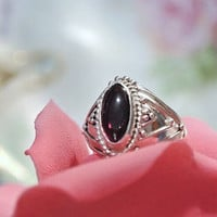 Genuine Garnet Ring Rhodolite Cabochon Cab Ring 925 Sterling Silver Over 2 CTs Size 6 Six Ethnic Tribal January Birthstone Gemstone Gem Ring