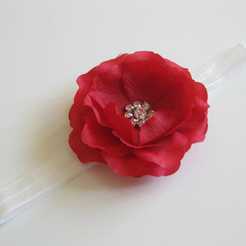girls red flower headband - white headband, baby headband, toddler headband,girls headband, newborn photo prop,baby headband, UK seller