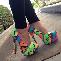 Tribal Pink Bottom Printed Canvas Pump Heels