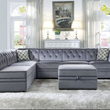 Acme ACM-53305-06-07-7PC 7 pc Bois II gray velvet modular sectional sofa with storage ottoman