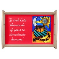 Funny Cat Quote with Sun and Moon and Stars Serving Tray