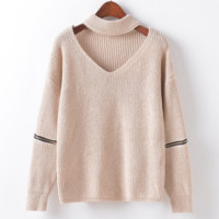 Autumn and winter new solid color knit shirt neckline hollow hanging neck V-neck zipper sweater women