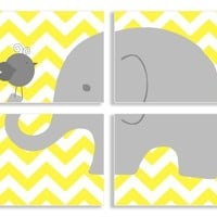The Kids Room by Stupell Gray Elephant and Birdie on Yellow Chevron 4-Pc Rectangle Wall Plaque Set