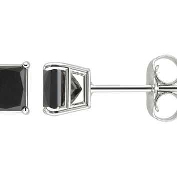 Sterling Silver Princess Black 1 Ct Cubic Zirconia VS1 Stud Earrings