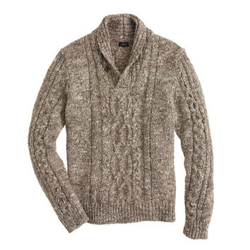 J.Crew Mens Italian Wool-Alpaca Shawl-Collar Cable Sweater