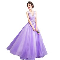 New Dream Fairies Lavender Purple Evening Dress The Bride Princess Banquet Sweet Lace Long Prom Party Gowns