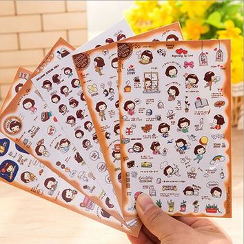 New Design Phone Stickers Photo Album Stickers Cute Korean Girl Emoticons Stickers Cartoon Notebook Stickers
