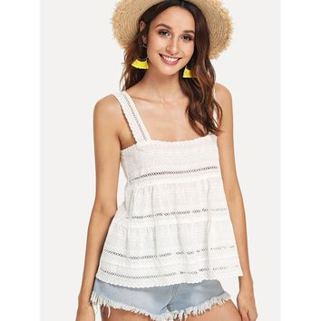 Eyelet Embroidery Tiered Tank Top
