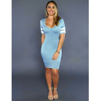 Blue Plunge Bodycon Dress with Contrast Sleeve Bands