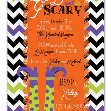 Black and White Chevron with Orange Lace and Purple and Green Witches Feet Eat Drink and be Scary Design Printable invitation