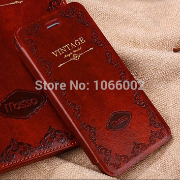 Mosiso Vintage Book Flip Leather Case for iPhone 7 7 Plus 6 6S 6 6S Plus 5S 5/4S 4 Samsung Galaxy S5 Waterproof Stand Capa Case