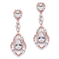 Mariell Rose Gold Cubic Zirconia Dangle Wedding Or Prom Earrings 4018e-rg