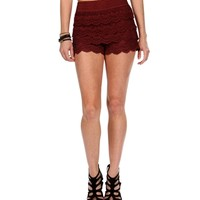 Burgundy Pull On Corchet Shorts