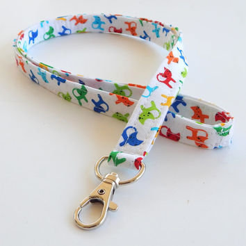 Cat Lanyard / Cat Lovers / Kitty Keychain / Cats / Key Lanyard / ID Badge Holder / Rainbow / Kittens / Vet Lanyard / Cute Lanyards