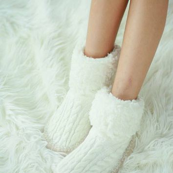 Cable Knit Slipper Socks - 3 Colors!