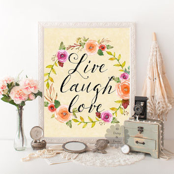 printable quote Live laugh love print wall decor nursery wall art print calligraphy print typography decor floral art yellow poster art
