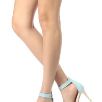 Blue Faux Leather Ankle Strap Pointy Heels
