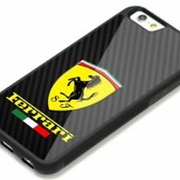 Ferrari Black Carbon Effect Best iPhone 7 and 7+ Hard Plastic Protector Case
