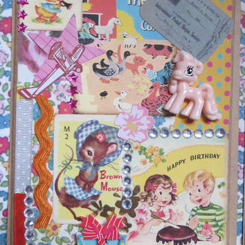 Pack of 4 One of a Kind Kitsch Vintage Retro Handmade Birthday Cards - Collage of Paper, Ephemera, Playing Cards, Ribbon, Charms, Cabochons.