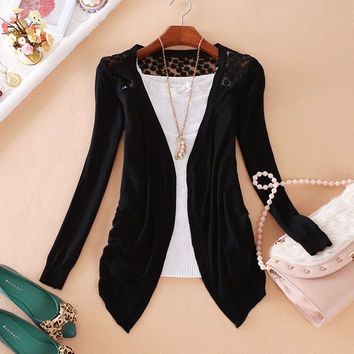 Cut Out Design Long Sleeve Collarless Cardigan