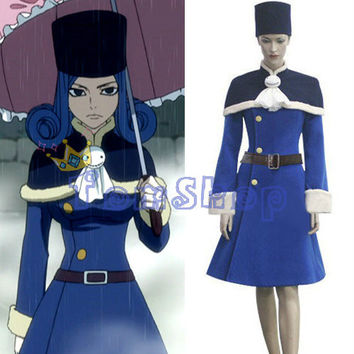 Free Shipping Fairy Tail Juvia Loxar Cosplay Dress Costume Custom-made Women's Halloween Costumes Whole Set