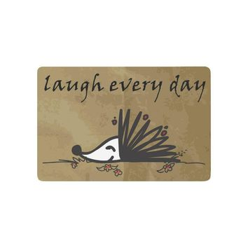 Autumn Fall welcome door mat doormat Funny Hedgehog Anti-slip  Home Decor, Laugh Every Day Quote Indoor Outdoor Entrance  Rubber Backing AT_76_7