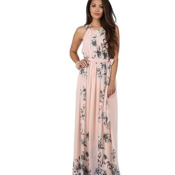 Soft Pink Romantic Floral Maxi